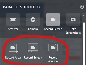 Parallels Toolbox Record screen